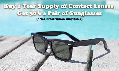 Image Text: Buy 1 Year Supply of Contact Lenses, Get 30% off of a pair of sunglasses. (*Non prescription sunglasses).