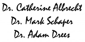Signatures of Austin Optometrists Dr. Catherine Albrecht, Dr Mark Schaper, and Dr. Adam Drees of Anderson Lane Vision Source